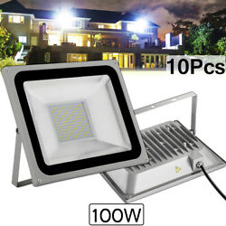10x 100w Led Flood Light Cool White Camping Outdoor Lighting Security Wall Lamp