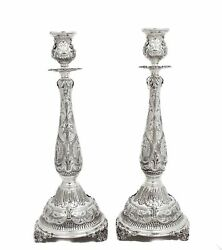 Fine 925 Sterling Silver Hand Chased Ornate Leaf Appliques Round Candlesticks