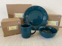 Rare Longaberger Pottery Teal Dinner Plate, Soup/salad Bowl And Mug New In Box