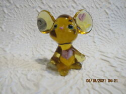 Fenton Art Glass Buttercup Valentine Mouse With Hp Hearts
