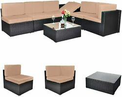 Outdoor All-weather 7 Pieces Patio Furniture Pe Rattan Wicker Sectional Sofa Con