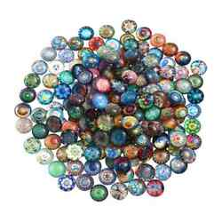 Glass Round Mosaic Tiles Colorful Mixed Tiles For Jewelry Making Craft Supplies