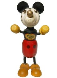 Rare Early 20th C Vint 1920and039s Hnd Pntd Enml Mickey Mouse Wood Fig C. Walt Disney