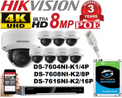 Hikvision 4k 4 8 16 Channel 8mp Poe Ip Network Video Recoder 8mp Camera System