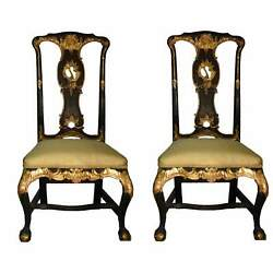 19th Century Antique Giltwood French Chairs Clawfoot Silk Upholstery - A Pair