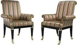 Vintage Mastercraft Brass Mounted Black Lacquer Armchairs - A Pair