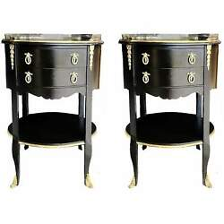 Vintage French Louis Gueridon Tables Ormolu Mounted Brass - A Pair