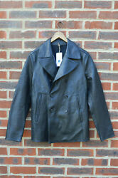 Awesome Sauce Allsaints Mens Piper Leather Peacoat Small Blazer Pea Coat