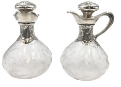 Pair Of Gorham Art Nouveau Glass And Sterling Silver Claret Jugs