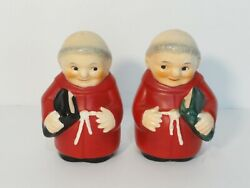 Goebel Cardinal Tuck Salt And Pepper Shakers - Red Monks W/ Bibles