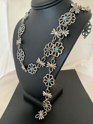 Vintage Native American Navajo Blue Turquoise Sterling Silver Concho Belt 1429