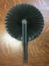 Antique Victorian Round Folding Hand Fan Wooden Oil Cloth Black Mourning Funeral