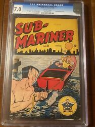 Sub-mariner 21 1946 Timely Cbcs 7.0 Ow/w Shores Cover - Great Colors-very Nice
