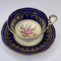 Rare Aynsley Cabbage Rose Teacup And Saucer - Cobalt Blue With Pink Rose