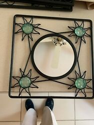Partylite Square Black Frame W Round Mirror And 4 Sun On Corners