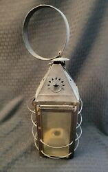 Antique Punched Tin Candle Lantern Star Pattern Primitive Glass