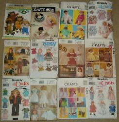 Lot Of 20 Used Craft Misc Doll Clothes Patterns Cut Pre-owned As Pictured