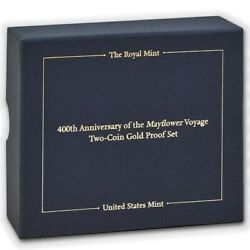 Uk 400th Mayflower 2-coin Set Gold And Silver Proof British Royal Mint 2020 Usa