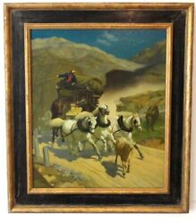 After Rudolf Koller Oil Canvas The Gotthard Post Commission By Icm Museum 1990