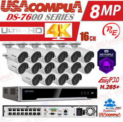 Hikvision 8mp 4k Security System Kit 4k-uhd Nvr 16ch Poe 8mp Cameras W- Hdd