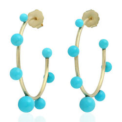 Memorial Day 19.88ct Turquoise Bead Hoop Earrings 18k Yellow Gold Fine Jewelry