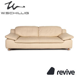 Willi Schillig Amore Leather Sofa Beige Three-seater Function Couch