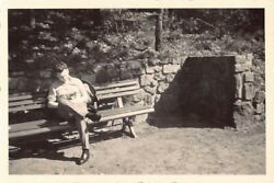 Vintage Bamp;W Photo Men Sitting on Wood Wooden Bench Brick Wall Trees Park