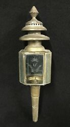 Large Antique Tin And Glass Etched Whale Oil Fixture Lantern