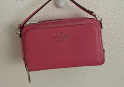 NWT Kate Spade Staci Dual Zip Around Leather Crossbody Small Bag in Garden Pink $82.99