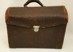Antique Knickerbocker Brn Leather Dr Sales Case Textured Fold Out Metal Tray