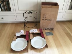 Nib Longaberger Wrought Iron Pie Server With 2 Ivory Pie Plates New In Boxes Usa