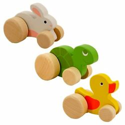 Easter Animal Wooden Push Toys With Up And Down Rolling Motion 3 Pack Rabit