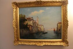 Antique Oil On Canvas Georges Gerbier 1906 - 1983 French Artist Venice Scene
