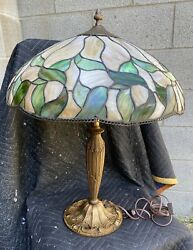 Antique Leaded Stained Glass Lamp
