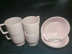 Vintage Melamine Cups And Bowls Texas Ware Set Dallas Ware Pink Dinner Soup Cereal