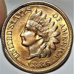 1886 Variety 2 Indian Head Cent Uncirculated Unc Red Brown Rb Type Two 1c Coin