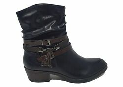 Marco Tozzi Slouch Low Heel Buckles And Straps Ankle Boot Navy
