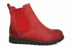 Oak And Hyde Coast Line Red Leather Wide Fit Chelsea Ankle Boots