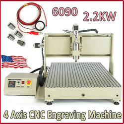 2200w Usb Cnc Router 4 Axis 6090 Engraver Milling Machine Vfd Metal Cutter -used