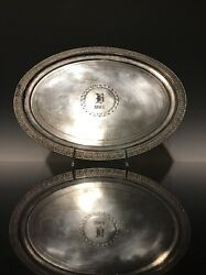 An Antique Silver Plated Dated 1882 Serving Tray Tea Tray