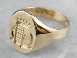 Coat Of Arms Gold Signet Ring