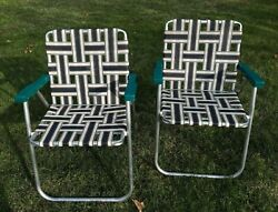 Pair Of Vintage Rio Brand Aluminum Folding Lawn Chairs, Light Weight