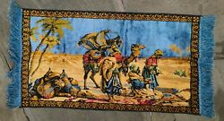 Arabian Egyptian Turkish Travelers on Camels Wall Hanging Vtg Tapestry 38quot;x 21quot;