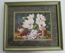 Magnolia Blossoms Framed Wall Art Print 17x14 Dining Room Kitchen Grapes Candle