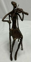 Violin Player Sculpture Woman Sitting Playing Violin Handcrafted Copper Figurine