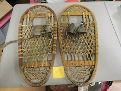 Vintage 1944 Us C.a. Lund Hastings Minnesota 13x28 Wood Military Snowshoes Bear