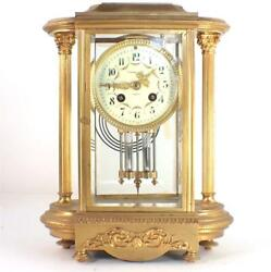 Nxxx Antique French Bronze Crystal Regulator Clock Retailed And Co