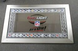 Vintage Coors Light Nfl Itand039s On Mirrored Beer Sign 45x28 W/all 32 Nfl Helmets