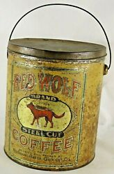 Vintage 6 Pound Red Wolf Brand Steel Cut Coffee Can Tin Pail With Lid And Handle