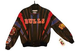 Brand New W/ Tags Chicago Bulls Jeff Hamilton 3peat Repeat Leather Jacket Size L